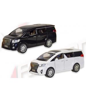 Машинка Тойота Альфард коллекционная модель Toyota Alphard металлическая, 1:24, (черный, белый), Автопром