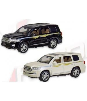 Машинка Тойота Ленд Крузер коллекционная модель Toyota Land Cruiser металлическая, 1:24, (белый, черный), Автопром