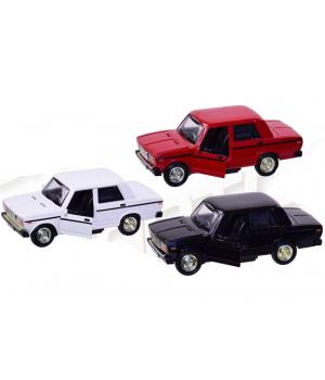 Машинка Жигули ВАЗ-2107 коллекционная модель Lada 2107 металлическая, 1:32-1:36 (красный, белый, черный), Автопром