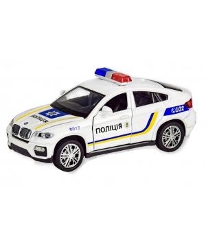 Коллекционная модель БМВ х6 Украинская Полиция (BMW X6) машинка металлическая, 1:32-36, Автопром