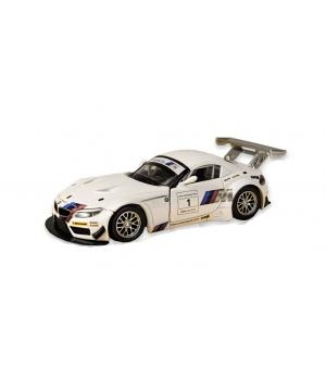 Коллекционная модель БМВ з4 гт3 (BMW Z4 GT3) машинка металлическая, 1:32, (белый), Автопром