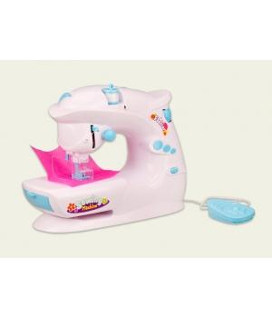 Детская швейная машинка для шитья на батарейках (свет,защита пальцев, чемоданчик с принадлежностями)