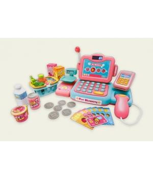 Игрушечная касса игрушка с распознаванием речи, калькулятор, продукты,свет,звук