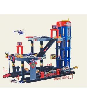 Парковка с лифтом игрушка с вертолетной площадкой и машинками