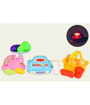 Игрушечная касса игрушка (свет-звук,весы,корзинка с продуктами)
