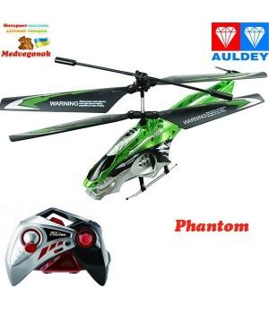 Летающий вертолет на пульте управления - PHANTOM SCOUT контроль высоты (зеленый, 20 см, с гироскопом, 3 канала) Auldey, от 12 лет