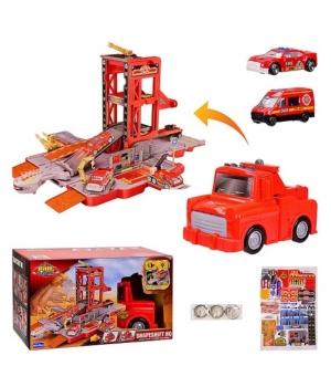 Машина парковка игрушка Пожарная станция, свет,звук