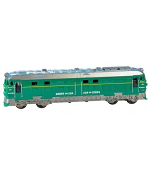 Поезд игрушка, зеленый локомотив, со светом и звуком, BIG MOTORS