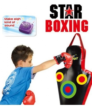 Детская боксерская груша (манекен) и перчатки с звуковыми эффектами, 2кг, 60 см