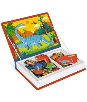 Магнитная книга для детей пазл, динозаврики, Janod