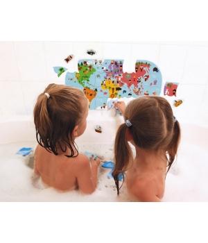 Игрушка для купания пазл Карта мира, Janod