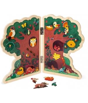Развивающая магнитная игра дерево (с животными и растениями), Janod