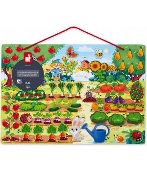 Развивающая магнитная игра для детей, Сад (овощи, фрукты, животные), Janod