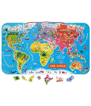 Магнитная карта мира для детей на стену, (англ.) Janod
