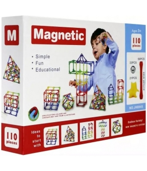 Конструктор магнитный палочки и шарики, 110 деталей, Magnetic