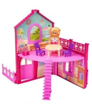 Домик для кукол 2-этажа, (куколка, скутер, машина, мебель,аксес), 36 см