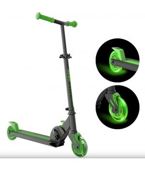 Складной детский самокат двухколесный, колеса с подсветкой, от 5 лет, зеленый, NEON Vector