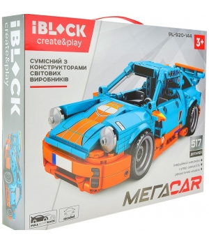 Конструктор спортивная машина Порше, Porsche 911, IBLOCK PL-920-144, 517 деталей