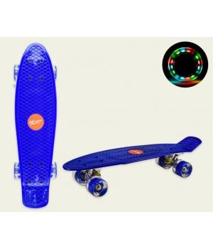 Пенни борд со светящимися колесами, голубой, колеса PU, 56*15 см