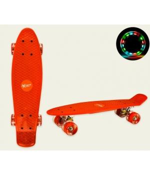 Пенни борд со светящимися колесами, красный, колеса PU, 56*15 см
