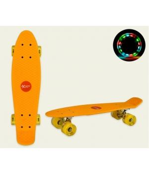 Пенни борд со светящимися колесами, желтый, колеса PU, 56*15 см