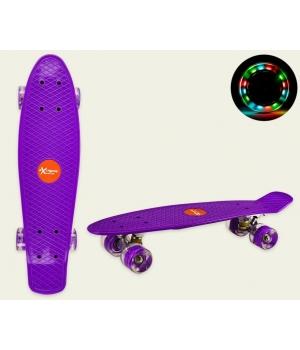 Пенни борд со светящимися колесами, фиолетовый, колеса PU, 56*15 см
