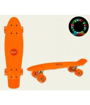 Пенни борд со светящимися колесами, оранжевый, колеса PU, 56*15 см