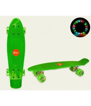 Пенни борд со светящимися колесами, зеленый, колеса PU, 56*15 см