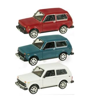 Машинка Жигули Нива ВАЗ-2114 коллекционная модель Lada Niva металлическая, 1:22 (красный, белый, бирюзовый), Автопром