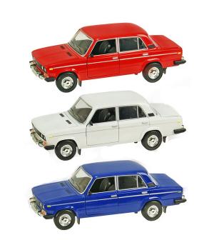 Машинка Жигули ВАЗ-2106 коллекционная модель Lada 2106 металлическая, 1:22 (красный, белый, синий), Автопром