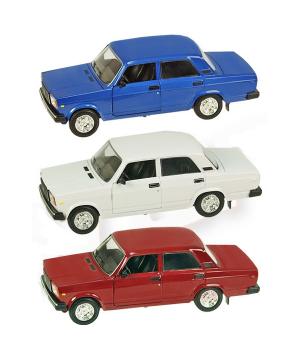 Машинка Жигули ВАЗ-2107 коллекционная модель Lada 2107 металлическая, 1:22 (красный, белый, синий), Автопром