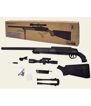 Игрушечная снайперская винтовка металлическая на пульках, ZM51, CYMA