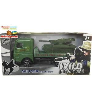 Военная машина игрушка грузовик с танком, фрикционный механизм, MAYA TOYS, от 3 лет