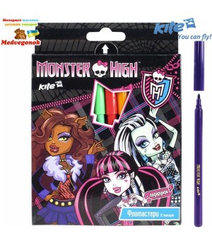 Фломастеры Monster High, 12 цветов, Kite, от 5 лет