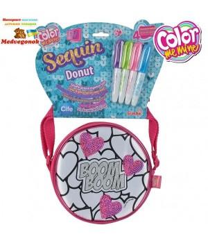 Сумочка раскраска для девочек Color Me Mine с блесточками Сердца, 15 см, 4 маркера, от 6 лет