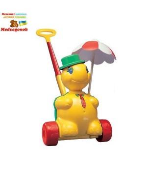Детская развивающая игрушка Черепашка Тортила - каталка с ручкой, Полесье, от 3 лет