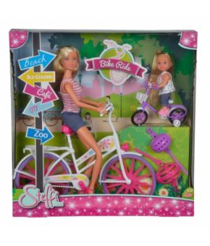 Игрушка кукла на велосипеде, Штеффи и Эви, Simba