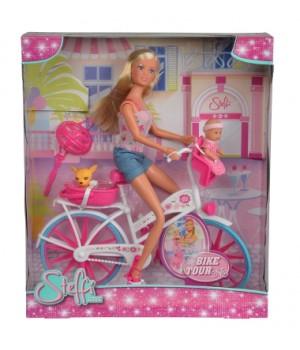 Кукла на велосипеде, с малышом, Simba