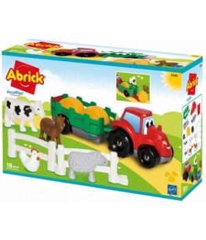 Конструктор с животными, трактор с трейлером, Ecoiffier