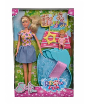 Набор с куклой Штеффи и пупсом Бассейн, Simba