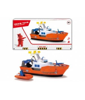 Детский катер игрушка Спасатель с лодкой, свет, звук, 40 см, DICKIE TOYS