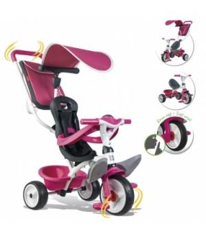 741101 Дитячий металевий велосипед з козирком, багажником та сумкою, рожевий, 10міс.+