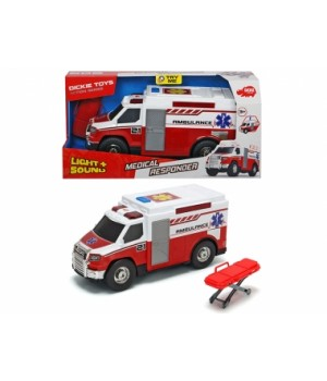 "3306007 Функціональне авто ""Медична допомога"" з ношами, звук. та світл. ефектами, 30 см, 3+"