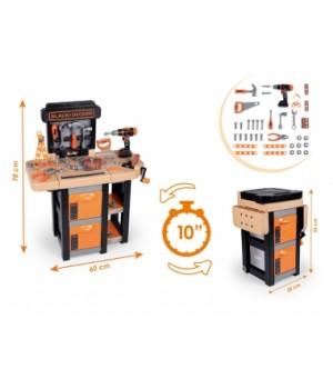 """Детский набор инструментов для мальчика """"Блек & Деккер. Мобильная мастерская"""", 37 аксессуаров, 60х30х78 см, от 3 лет"""