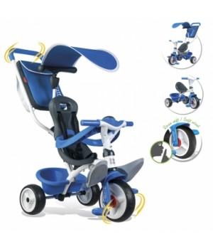 741102 Дитячий металевий велосипед з козирком, багажником та сумкою, синій, 10міс.+