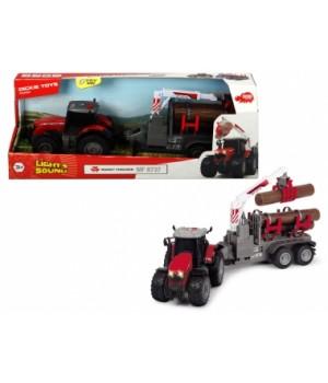 3737003 Трактор «Месі Фергюсон 8737» для перевезення деревини з причепом, зі звук. та світл. ефектами, 42 см, 3+