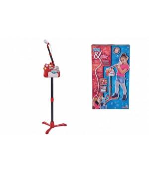 Детский микрофон со стойкой, 130 см, с разъемом для МР3 плеера, звук, свет, Simba