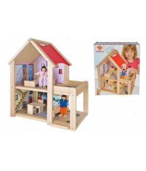 100002501 Будинок для ляльок двоповерховий Eichhorn з 2 ляльками та аксес., 3+