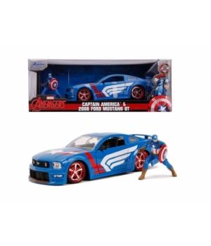 """253225007 Машина металева Jada """"Марвел. Месники"""" Форд Мустанг GT (2006) з фігуркою Капітана Америки, масштаб 1:24, 8+"""