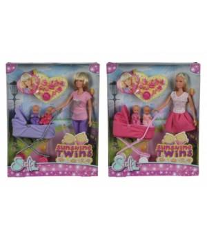 Кукла Штеффи с двумя малышами и коляской, Simba